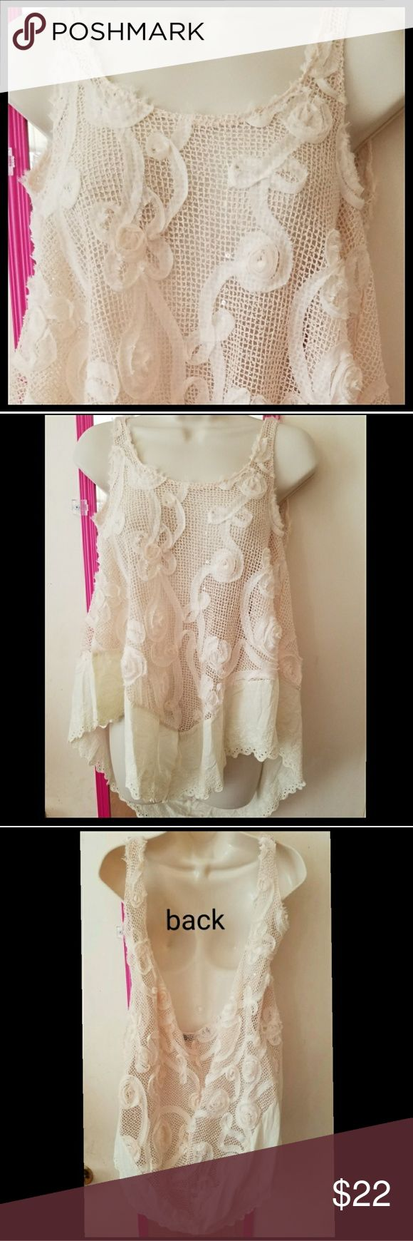NEW LISTING Origami Unusual Lace Mesh Floral Tank Very different cream colored boutique brand Origami by Vivien mesh tank with floral rosettes made of frayed ribbon. V shape bottom hem trimmed in eyelet lace for a vintage look. The back of the top is cowl like with a deep drop. Tank also has a few sequins sprinkled throughout. Polyester cotton blend. Oversized and stretchy. Size small. origami by vivien Tops Tank Tops