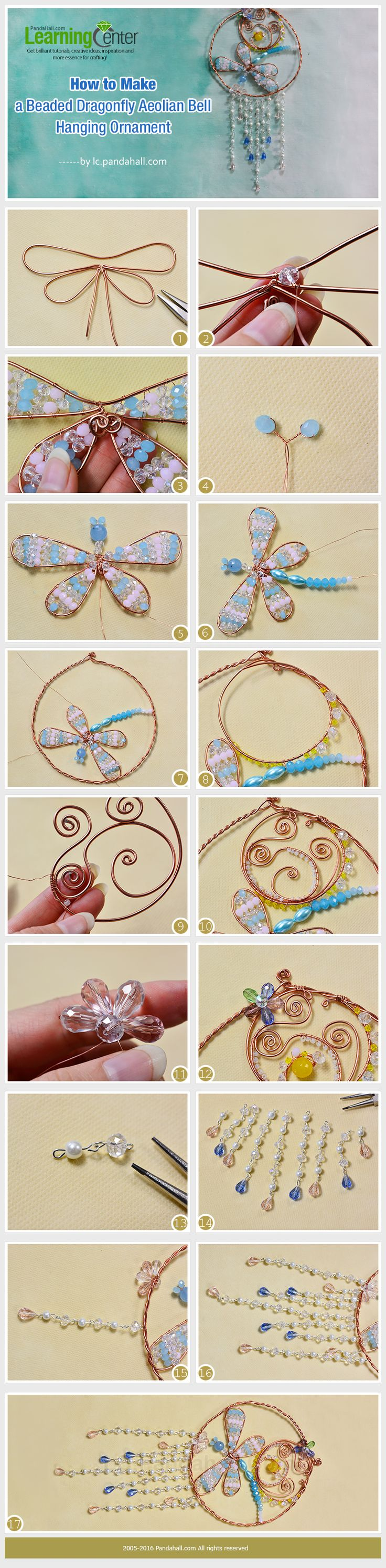 Tutorial on How to Make a Beaded Dragonfly Aeolian Bell Hanging Ornament from LC.Pandahall.com       #pandahall