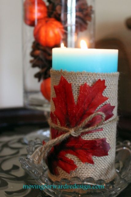 DIY Fall Candles - Bring your Summer candles or plain dollar store candles into Fall with a little burlap, some twine and a simple leaf. Check out the blog for…