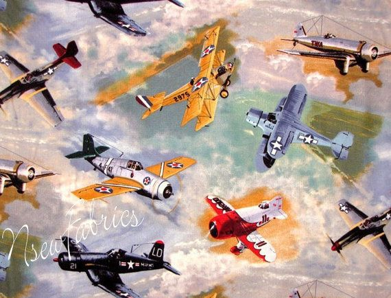Vintage Air Plane Airplane Fabric WWII Fighter by NsewFabrics, $12.99