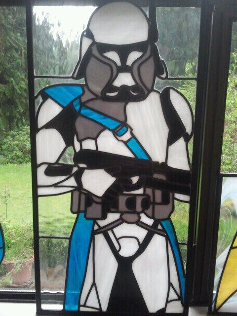 Clone Trooper: Stainedglass, Stained Glass Windows, Trooper Stained, Glasses, Clone Trooper, Star Wars, Wars Stained, Starwars