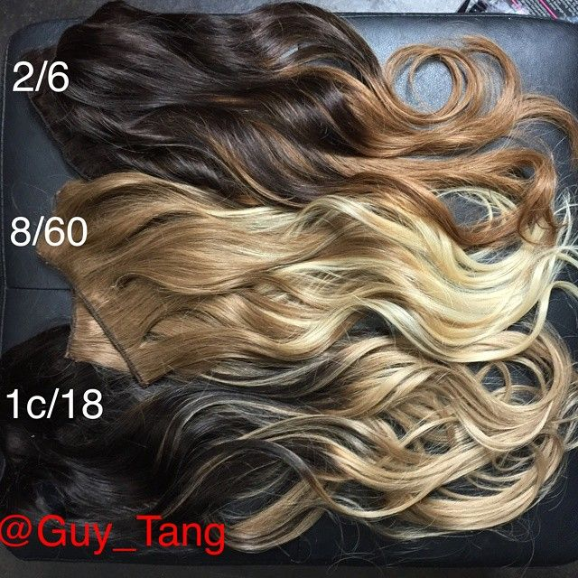 """Here is the Guy Tang @bellamihair #balayage #ombre extensions side by side! This is a clear view of the 3 tones available right now. These are extensions…"""