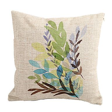Country Leaves Cotton/Linen Decorative Pillow Cover - USD $ 12.99