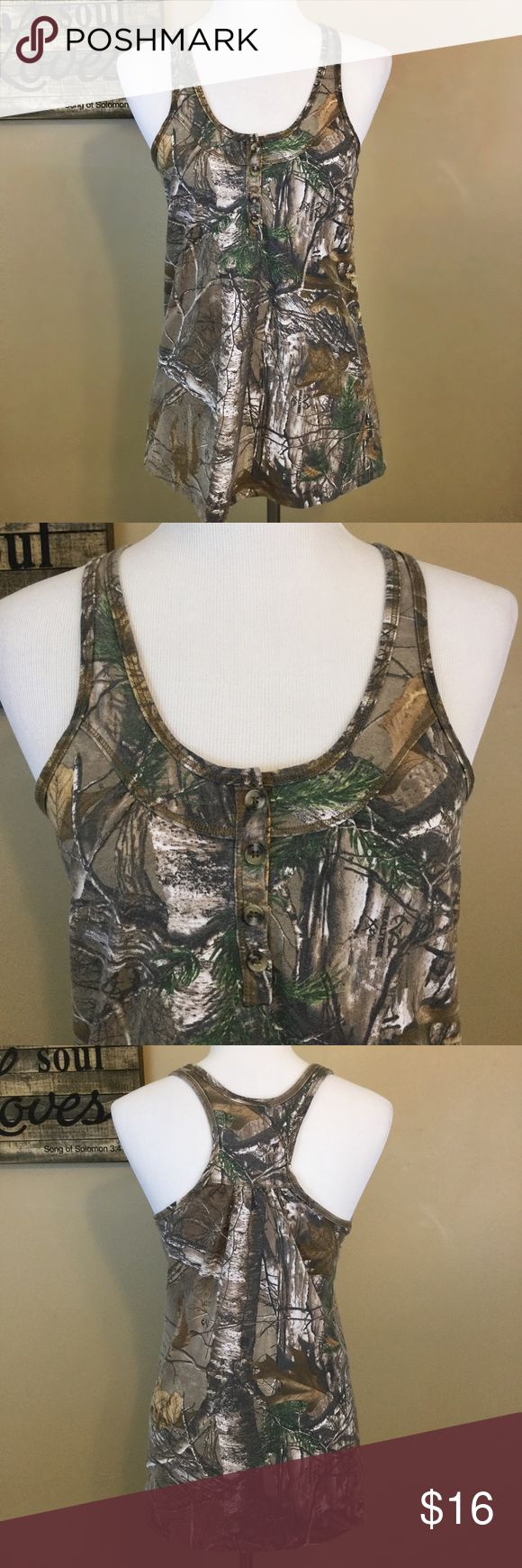 $6Camouflage tank top Camo tank top with button up chest Realtree Tops Tank Tops