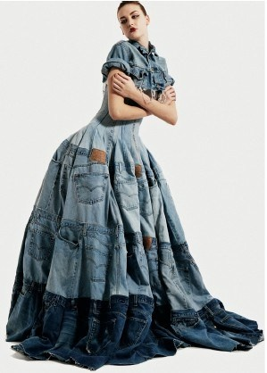 "Denim dress by Gary Harvey using 42 pairs of Levi 501′s. Source: The Velvet Highway, ""What Happens to Our Discarded Textiles"". Gloucestershire Resource Centre http://www.grcltd.org/scrapstore/"