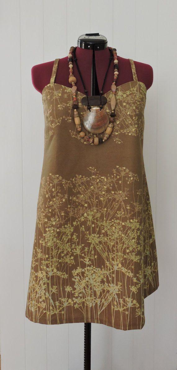 Summer Dress Womans Cotton Handmade Size 18 Brown by dezignhub