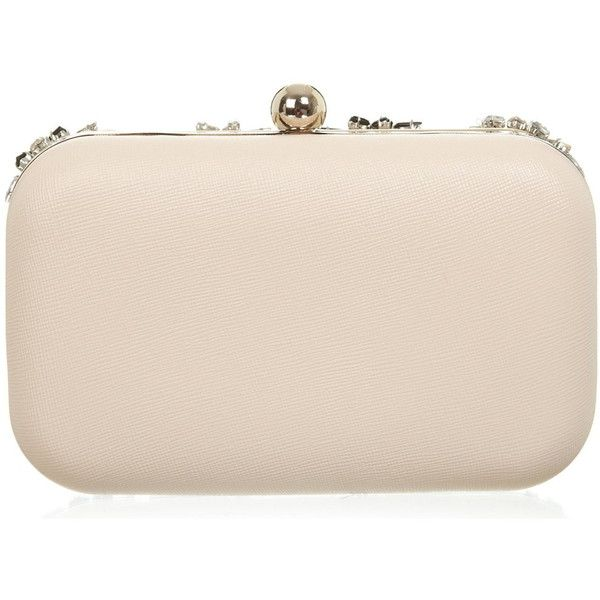 Miss Selfridge Pink Embellished Clutch Bag ($49) ❤ liked on Polyvore featuring bags, handbags, clutches, nude, embellished handbags, pink clutches, nude handbags, flower purse and nude purses
