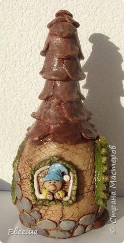 Поделка изделие Лепка Домик для гнома Бутылки стеклянные Тесто соленое фото 1