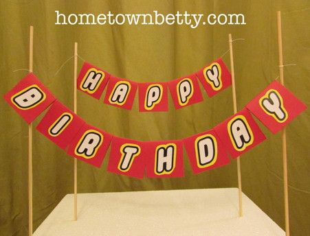 TUTORIAL  How to make LEGO Font Banner Cake Toppers  with free printable  by hometownbetty com