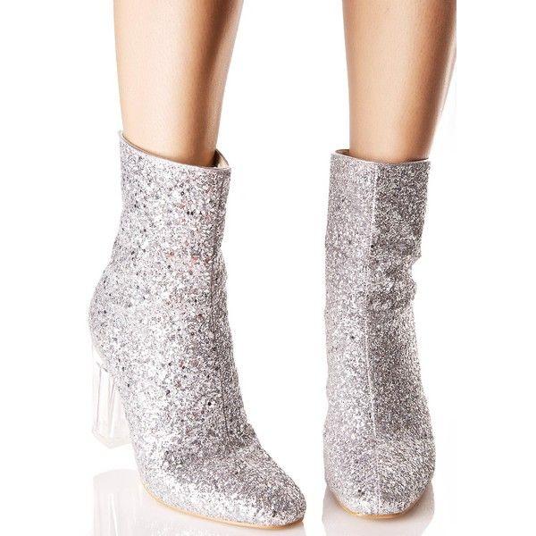 Silver Glitter Perspex Boot ($45) ❤ liked on Polyvore featuring shoes, boots, ankle booties, clear booties, block heel booties, silver ankle boots, glitter ankle boots and silver booties