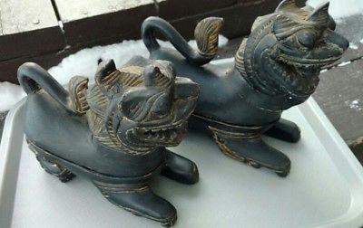 Black-Foo-Temple-Dogs-Carved-Wood-Keepsake-Boxes-Gold-Trim