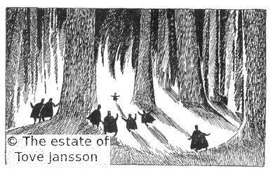 Tove Jansson's illustrations to J. R. R. Tolkien: Bilbo – en hobbits äventyr, Rabén & Sjögren, 1962, p. 157