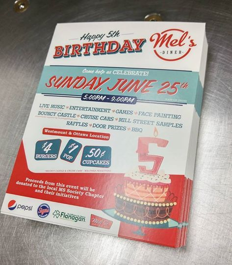 Flyers we designed and printed for Mel's Diner!  #print #graphicdesign #retro #diner