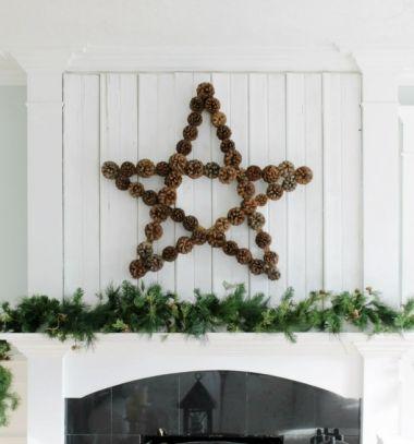 DIY Giant pinecone wall art from yardsticks // Óriás toboz csillag - téli fali dísz colstokból // Mindy - craft tutorial collection // #crafts #DIY #craftTutorial #tutorial