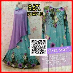 baju gamis muslim syari set bergo s671 purple