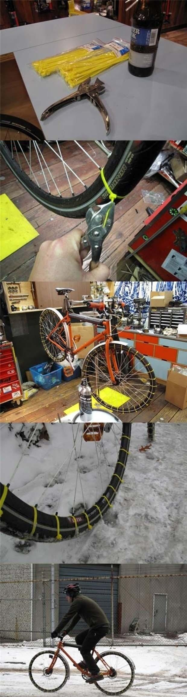 Use zip ties to DIY snow tires for your bike.