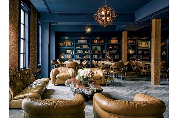 Sophisticated Blue; Barbary Coast Library Designed For Peace and (Dog-Eared) Pages | California Home + Design