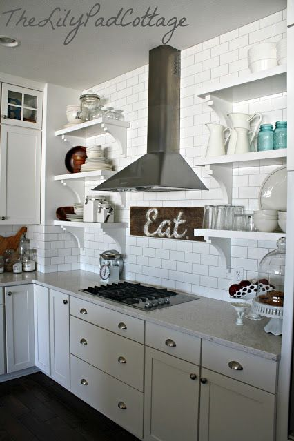 gorgeous! I could use the stove idea@jlarue open shelving in the kitchenPads Cottages, Lilypad Cottages, Open Shelves, Eating Signs, Range Hoods, Lilies Pads, Subway Tiles, Open Shelving, White Kitchens