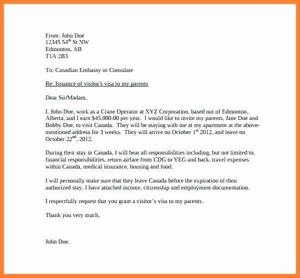 Sample Invitation Letter For Visitor Visa Usa Beautiful Invitation