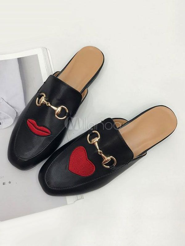 ac0a460bd37 Black Mule Loafers Women Square Toe Embroidered Metal Detail Mules ...
