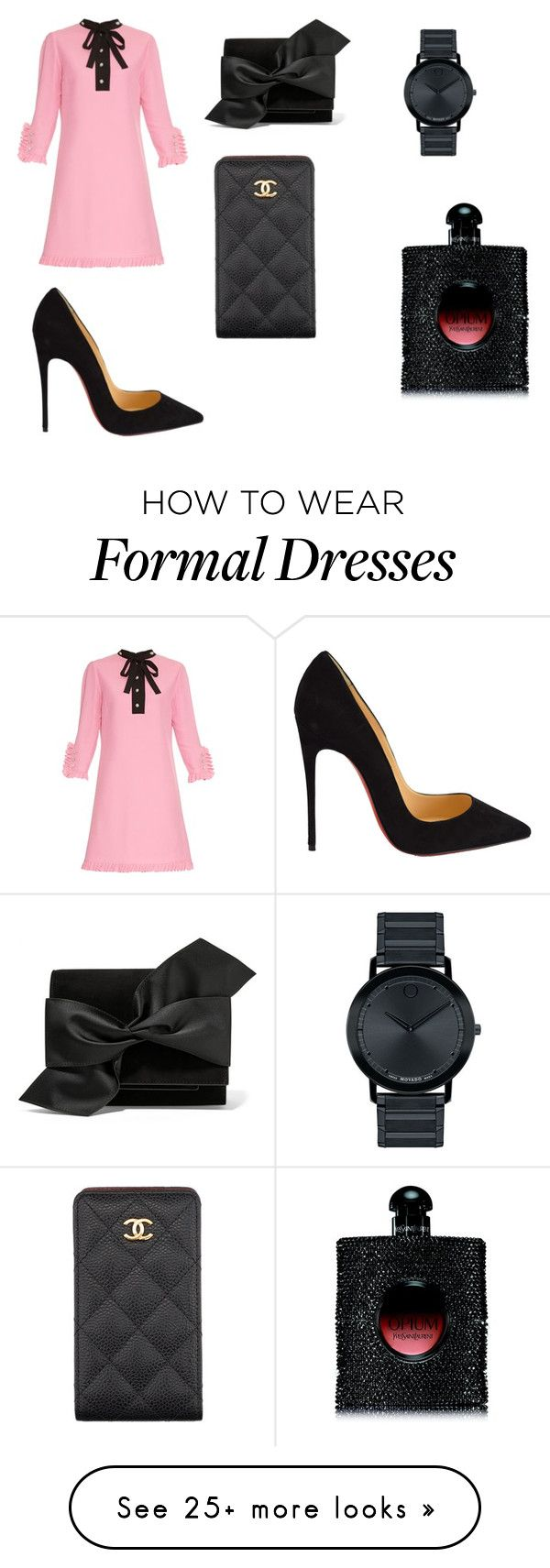 """""""Formal"""" by mariardz on Polyvore featuring moda, Gucci, Christian Louboutin, Victoria Beckham, Chanel, Movado ve Yves Saint Laurent"""