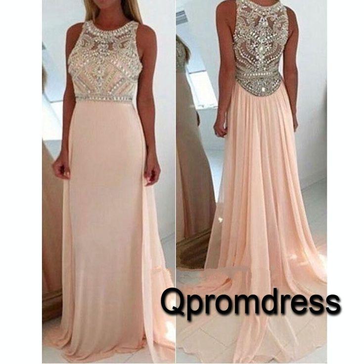 Modest prom dress, ball gown, 2016 beaded pink chiffon long prom dress