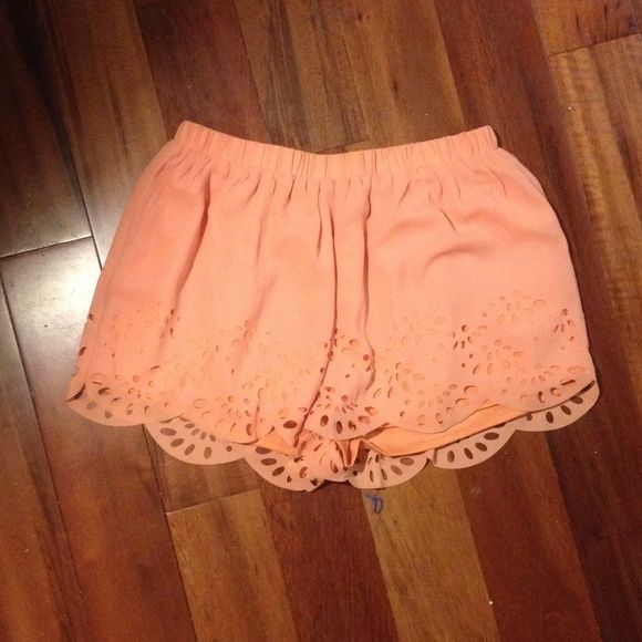 Peach shorts Flowy peach shorts with elastic waist and scalloped trim along legs. Super cute cut outs. Only worn once! Shorts