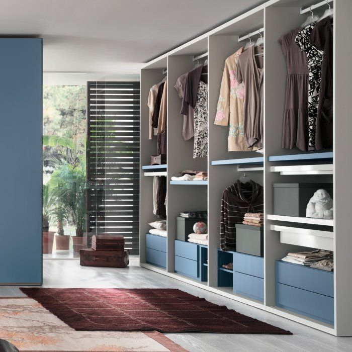 Light Blue And White Walk In Closet Storage