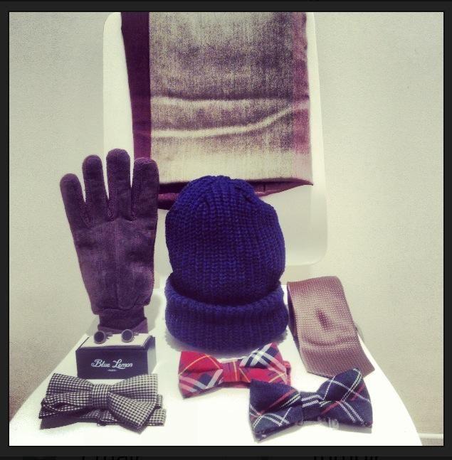 Gloves, scarf, bow-tie