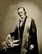 """Sir Richard Owen was an English biologist, comparative anatomist and paleontologist.  Owen is probably best remembered today for coining the word Dinosauria (""""Terrible Reptile"""" or """"Fearfully Great Reptile"""") and for his outspoken opposition to Charles Darwin's theory of evolution. He agreed with Darwin that evolution occurred, but thought it was more complex than outlined in Darwin's Origin. He was the driving force behind the establishment of the British Museum (Natural History) in London."""