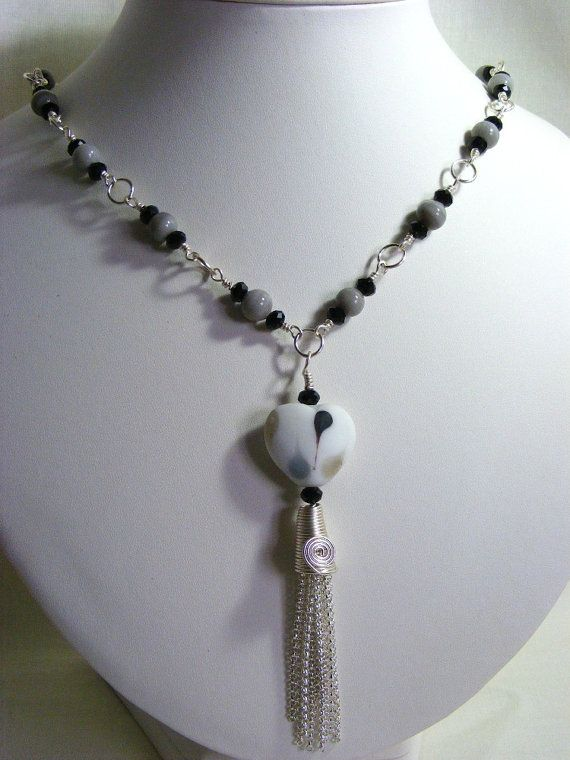 Black Grey and White Heart Pendant Necklace