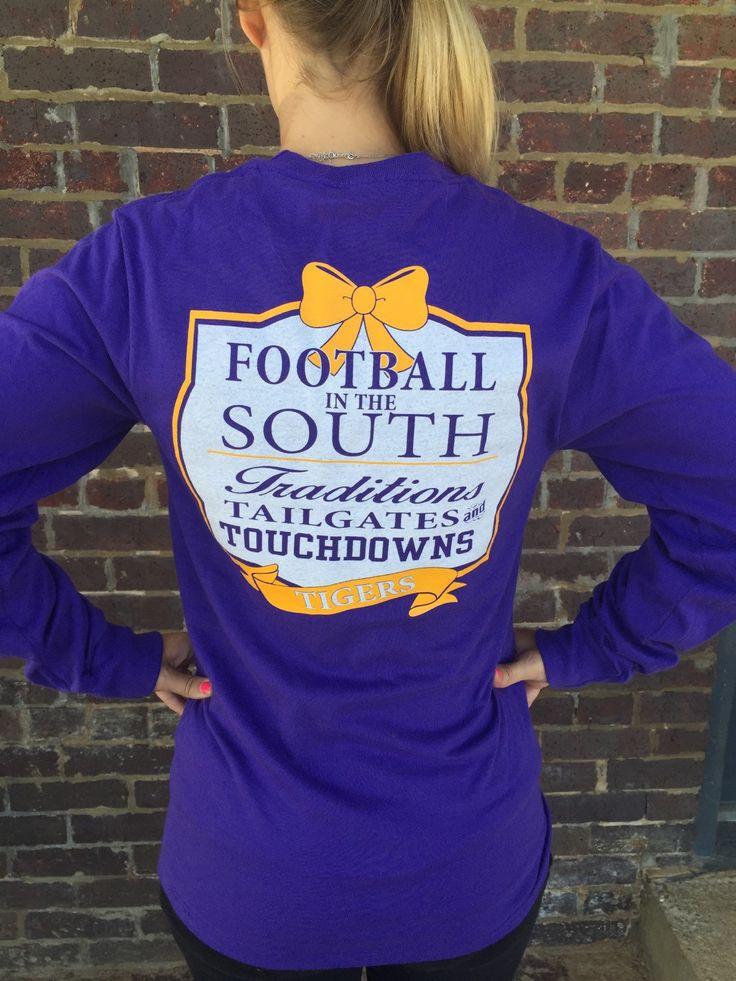 LSU Football tshirt, Ladies Louisiana football shirt, University of Louisiana Womens Tee, LSU Tee, Football in the South, Go Tigers Tshirt by CloverDepot on Etsy https://www.etsy.com/listing/249647910/lsu-football-tshirt-ladies-louisiana
