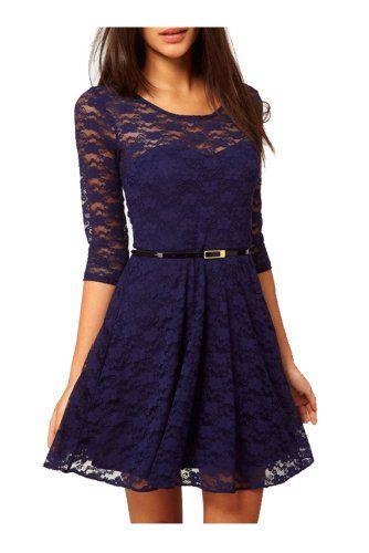 UUstar® Sexy Rahmen -Ausschnitt Minikleid Manches 3/4 longues Gürtel Elegant Cocktailparty Kleid Abend-Kleid Dress Mit Geblümt Lesbie Modelle (XS, Blau) UUstar® http://www.amazon.de/dp/B00CNLNYTI/ref=cm_sw_r_pi_dp_iYOgwb0JAWBAD