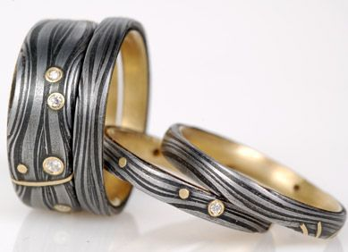 Forged #1: Hand Forged iron/steel lined in 18k yellow gold,7mm flat Galaxy rings with 8-11 diamonds.