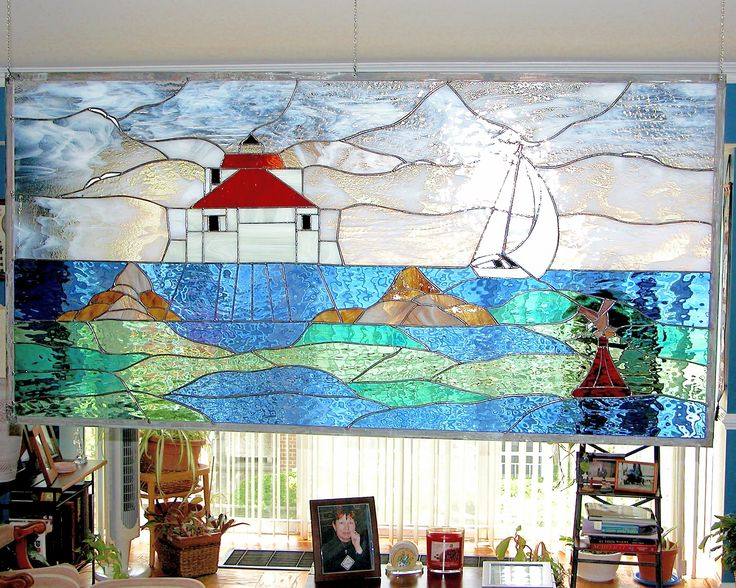 Lighthouse design.  #stainedglass #window #contemporary #beautiful #elegant #ocean #nature #artsy #creative
