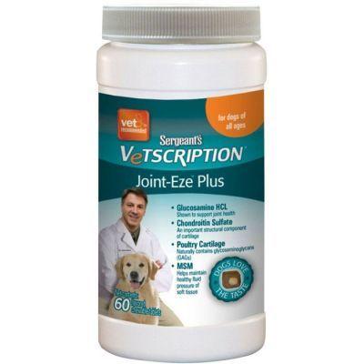 Vetscription Joint-Eze Plus Kemik, Kıkırdak ve Eklam Sağlığı için Aromalı Çiğneme Tableti Köpek Vitamini 60 Tablet  Eklem sağlığını destekler, kemik kıkırdağını kuvvetlendirir, bağ dokusunun doğal gelişimine yardımcı olur, doğal Kondroitin ve glukozamin içerir. Yumuşak aromalı ve kolay sindirilebilir özellikte patentli ürün köpeğinizin güçlenmesi için belirli aralıklar ile veteriner hekim tavsiyesiyle kullanımı tavsiye edilir.