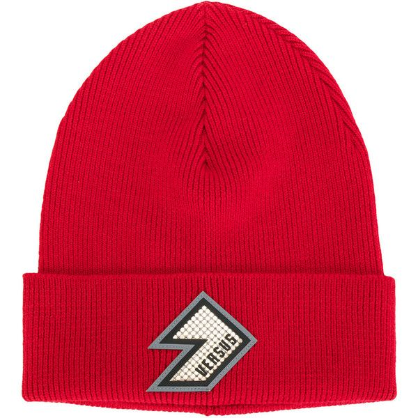 Versus logo patch beanie ($135) ❤ liked on Polyvore featuring men's fashion, men's accessories, men's hats, red, mens red hats, mens wool hats and mens beanie hats