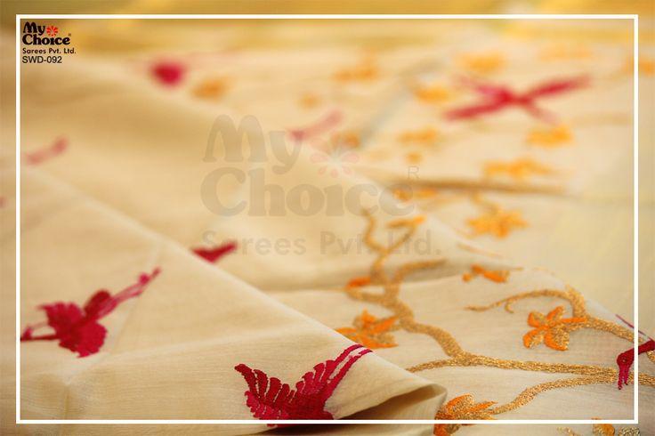 Beautiful Chanderi Cream work saree