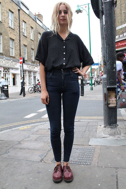 Ottilia 19 Works at Blitz Vintage on Brick Lane and is also a Musician favourite place for strret style is Gothenburg, Sweden This outfit is made up of a borrowed friends shirt and customized Cheap Monday jeans Ottilia is inspired by 60s and 70s bands such as Black Sabbath.