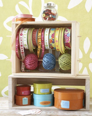 drill holes in a box; pop in a dowel rod and voila! ribbon storage; i'm imagining this vertically for thread also