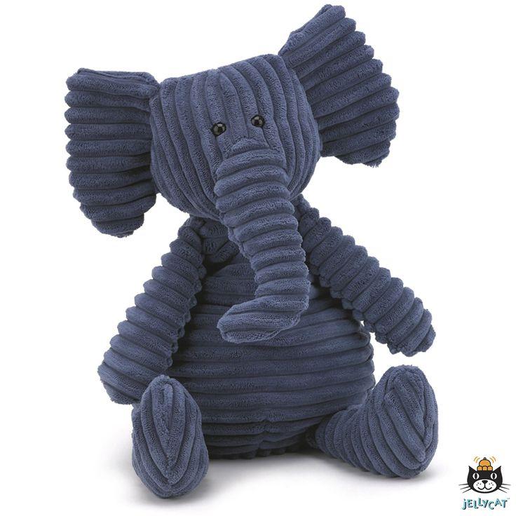 Cordy Roy Elephant van Jellycat is een grappige olifant en zijn blauwe corduroy vacht is lekker zacht. Hij zal graag zitten waar hij wordt geplaatst, de onderkant van de knuffel is gevuld met korreltjes.