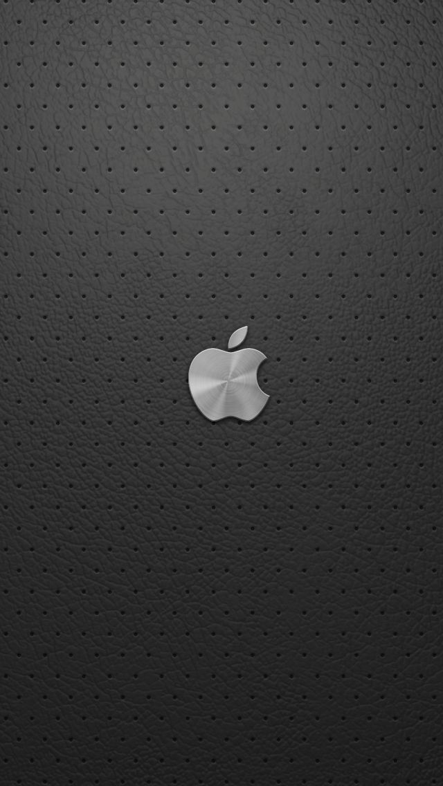 Apple logo on gray leather