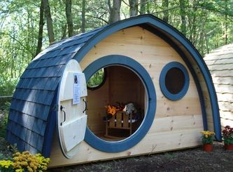 Hobbit Hole playhouses custom built and made in Maine.  Unique and fun designs made to order and available for shipping in the contiguous US.  Delivery and assembly available in New England.  A fantasy come true for your backyard, we offer Ent sized quali