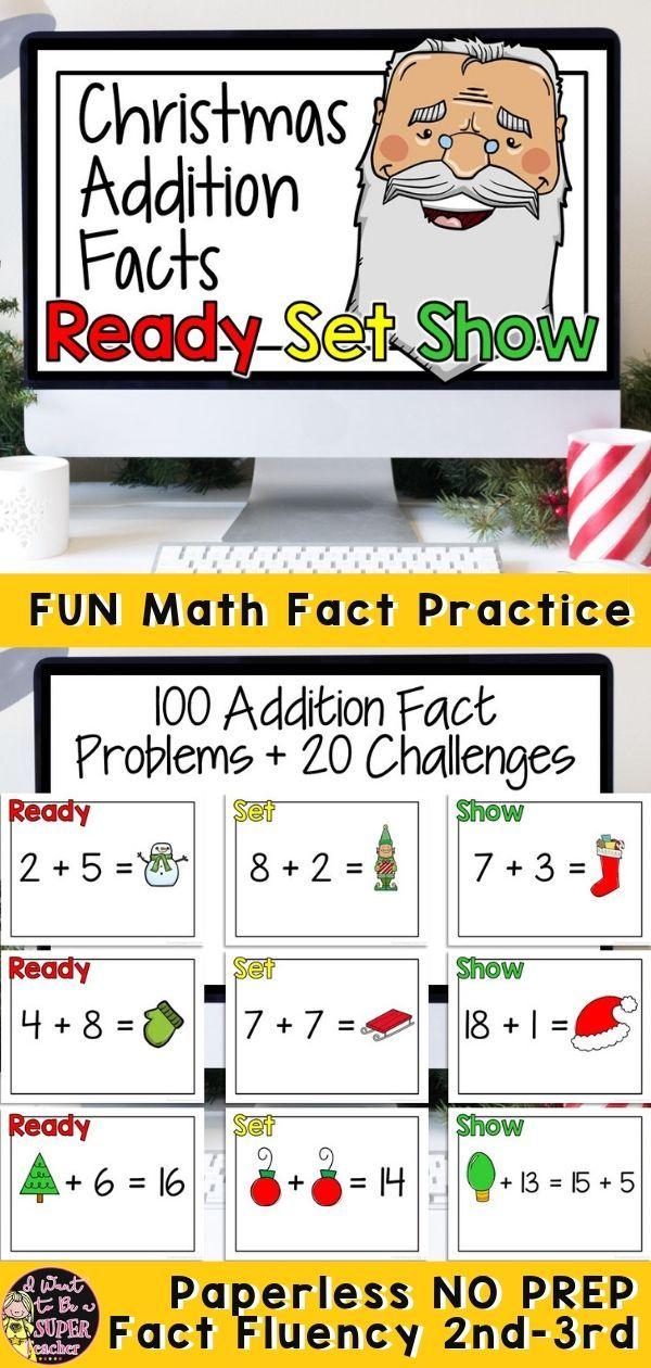 Christmas Math Activities 2nd 3rd Grade Addition Math Fact Fluency