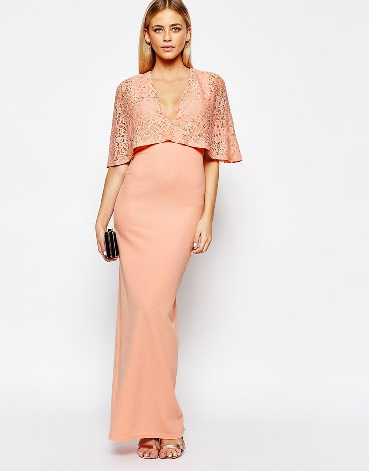 Club L Kimono Sleeve Maxi Dress with Lace Overlay