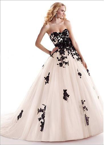 Amazing Stylish black and white Wedding Dress
