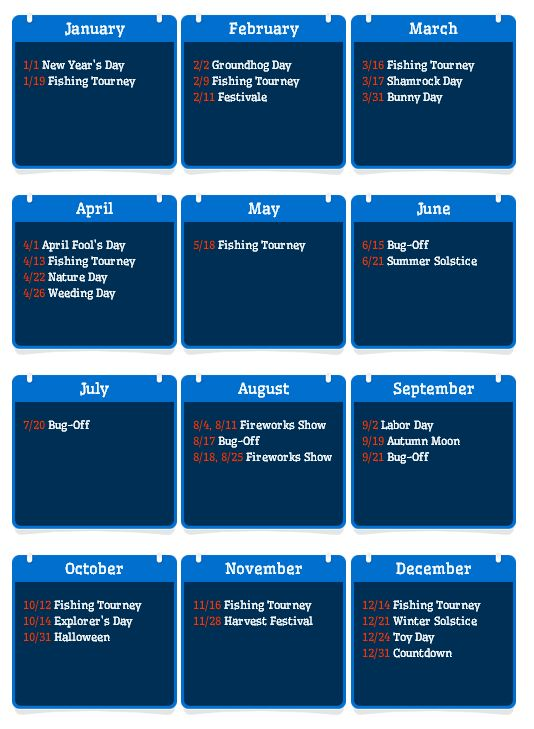 calendar for special dates on ACNL