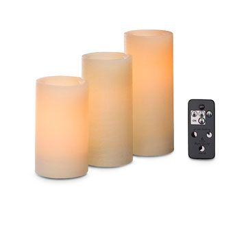 LED-pilarikynttilätrio & kaukosäädin, valkoinen
