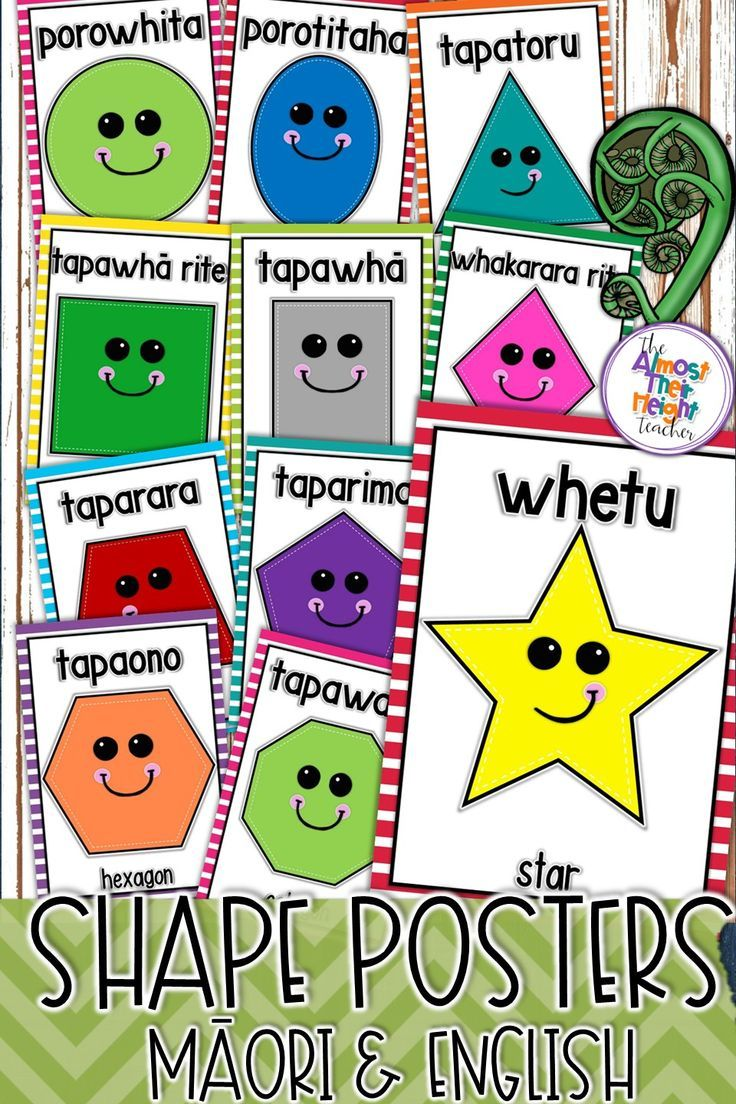 Classroom decor designed for the New Zealand Classroom.  This pack includes 4 sets of posters featuring the main 2D shapes.  You choose from posters with or without the face and in Maori & Maori with English translation.   #classroomdecor #newzealand #newzealandclassroom #maorilanguage #shapes #shapeposters #classroomposters #maori #teacherspayteachers