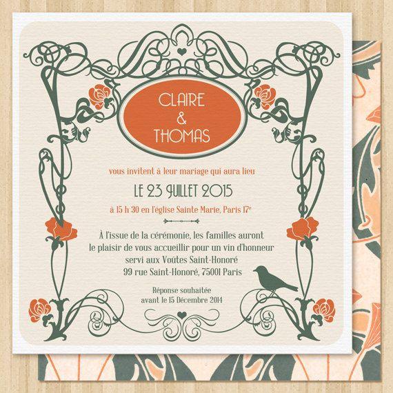 Invitation de Mariage Art Déco a personnaliser. par PepperAndJoy